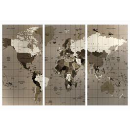 Mapa na korkové tabuli - hnědá mřížkovaná mapa (90x60 cm) - Murando DeLuxe
