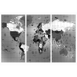 Mapa na korkové tabuli - šedá mřížkovaná mapa (90x60 cm) - Murando DeLuxe