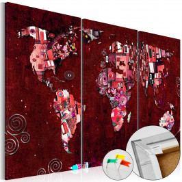 Mapa na korkové tabuli - červené kontinenty (90x60 cm) - Murando DeLuxe