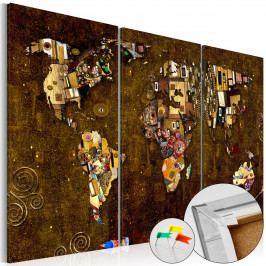 Mapa na korkové tabuli - zlatá mapa (90x60 cm) - Murando DeLuxe