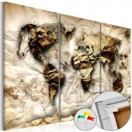 Mapa na korkové tabuli - věděcká mapa (90x60 cm) - Murando DeLuxe