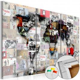 Mapa na korkové tabuli - mapa moderního světa (90x60 cm) - Murando DeLuxe