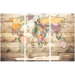 Mapa na korkové tabuli - mapa na dřevě (90x60 cm) - Murando DeLuxe