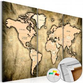 Mapa na korkové tabuli - výrazné kontinenty (90x60 cm) - Murando DeLuxe