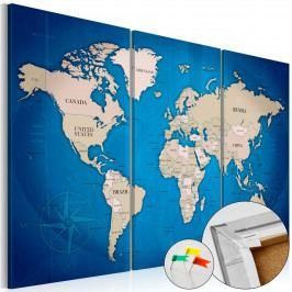 Mapa na korkové tabuli- modrá cesta (90x60 cm) - Murando DeLuxe