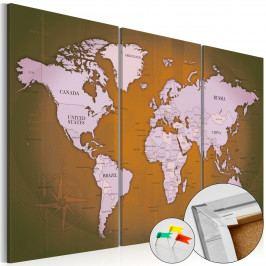 Mapa na korkové tabuli - podivná mapa (90x60 cm) - Murando DeLuxe