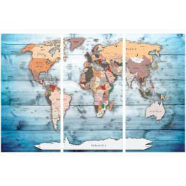 Mapa na korkové tabuli - mapa na modrém prkně (90x60 cm) - Murando DeLuxe