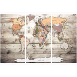 Mapa na korkové tabuli - historická mapa světa (90x60 cm) - Murando DeLuxe