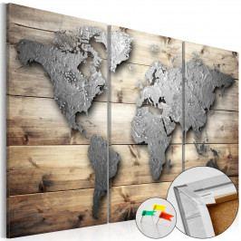 Mapa na korkové tabuli - prkna do světa (90x60 cm) - Murando DeLuxe