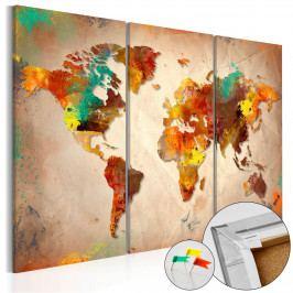 Mapa na korkové tabuli - malovaný svět (90x60 cm) - Murando DeLuxe