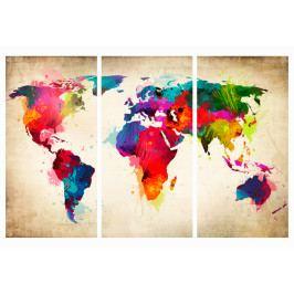 Mapa na korkové tabuli - barvy světa (90x60 cm) - Murando DeLuxe