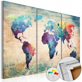 Mapa na korkové tabuli - kontinenty světa (90x60 cm) - Murando DeLuxe