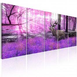 Vícedílný obraz - jelen v lese (150x60 cm) - Murando DeLuxe