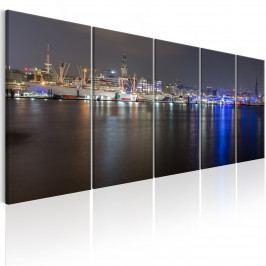 Vícedílný obraz - noc v Hamburgu (150x60 cm) - Murando DeLuxe