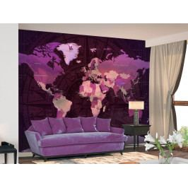Fialová mapa světa (150x105 cm) - Murando DeLuxe