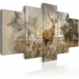 Pětidílný obraz - jelen na poli (200x100 cm) - Murando DeLuxe