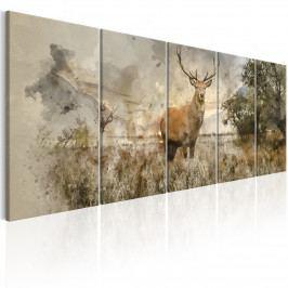 Vícedílný obraz - malovaný jelen (150x60 cm) - Murando DeLuxe