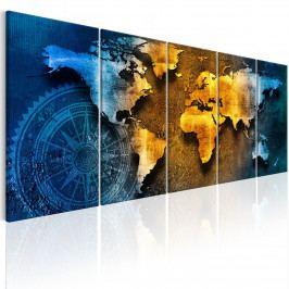 Vícedílný obraz - modrý stín (150x60 cm) - Murando DeLuxe