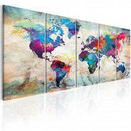 Vícedílný obraz - barevná mapa světa (150x60 cm) - Murando DeLuxe