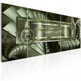 Abstraktní obraz - zelené schody (150x60 cm) - Murando DeLuxe