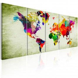 Pětidílný obraz - barevné kontinenty (150x60 cm) - Murando DeLuxe