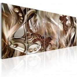 Abstraktní obraz - hnědá záře (150x60 cm) - Murando DeLuxe