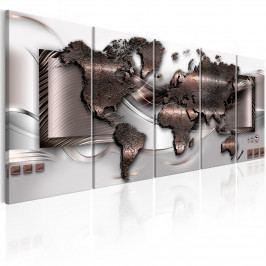 Mapa světa v bronzovém provedení (150x60 cm) - Murando DeLuxe