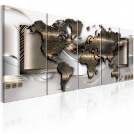 Mapa světa ve zlatém provedení (150x60 cm) - Murando DeLuxe
