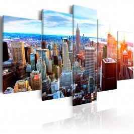 Vícedílný obraz - zářící mrakodrapy (200x100 cm) - Murando DeLuxe