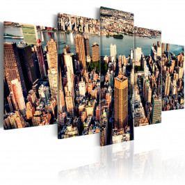 Pětidílný obraz - New York letem (200x100 cm) - Murando DeLuxe