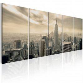 Pětidílný obraz - béžový Manhattan (150x60 cm) - Murando DeLuxe