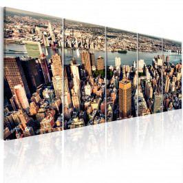 Pětidílný obraz - let na New Yorkem (150x60 cm) - Murando DeLuxe