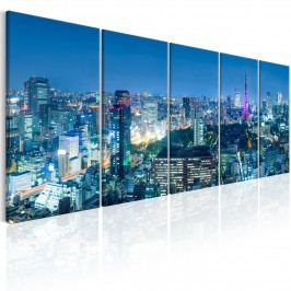 Pětidílný obraz - noc v Tokiu (200x80 cm) - Murando DeLuxe