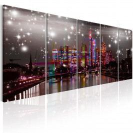Vícedílný obraz - Frankfurt barevné město (200x80 cm) - Murando DeLuxe