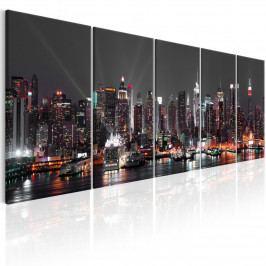 Obraz - New York v šedé noci (200x80 cm) - Murando DeLuxe