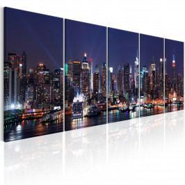 Obraz - New York v modré noci (200x80 cm) - Murando DeLuxe