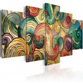 Abstraktní obraz - barevné vlny (200x100 cm) - Murando DeLuxe