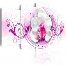 Pětidílné obrazy - zářící orchidej (200x100 cm) - Murando DeLuxe
