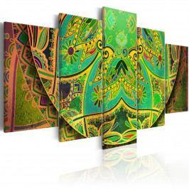 Pětidílné obrazy - zelená Mandala (200x100 cm) - Murando DeLuxe