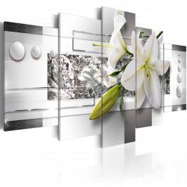 Abstraktní obrazy - bílá lilie (200x100 cm) - Murando DeLuxe