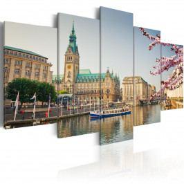 Pětidílné obrazy - jaro ve městě (200x100 cm) - Murando DeLuxe
