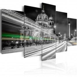 Pětidílné obrazy - Berlín v nočním plášti (200x100 cm) - Murando DeLuxe