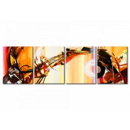 Čtyřdílné obrazy - paví pírka (128x40 cm) - Murando DeLuxe