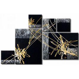 Šestidílné obrazy - zlaté čáry (170x110 cm) - Murando DeLuxe
