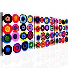 Abstraktní obrazy - barevné kolečka (135x45 cm) - Murando DeLuxe