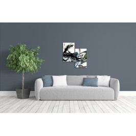 Dvoudílné obrazy - černé vlny (66x71 cm) - Murando DeLuxe