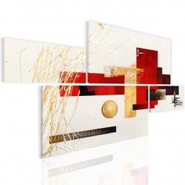 Moderní obrazy - rovina s červeným a zlatým (154x88 cm) - Murando DeLuxe