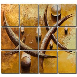 Vícedílné obrazy - kapky a čáry (80x75 cm) - Murando DeLuxe