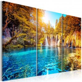 Vodopády v podzimním lese (150x100 cm) - Murando DeLuxe