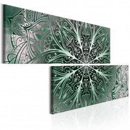 Dvoudílné obrazy - zelená Mandala (180x90 cm) - Murando DeLuxe
